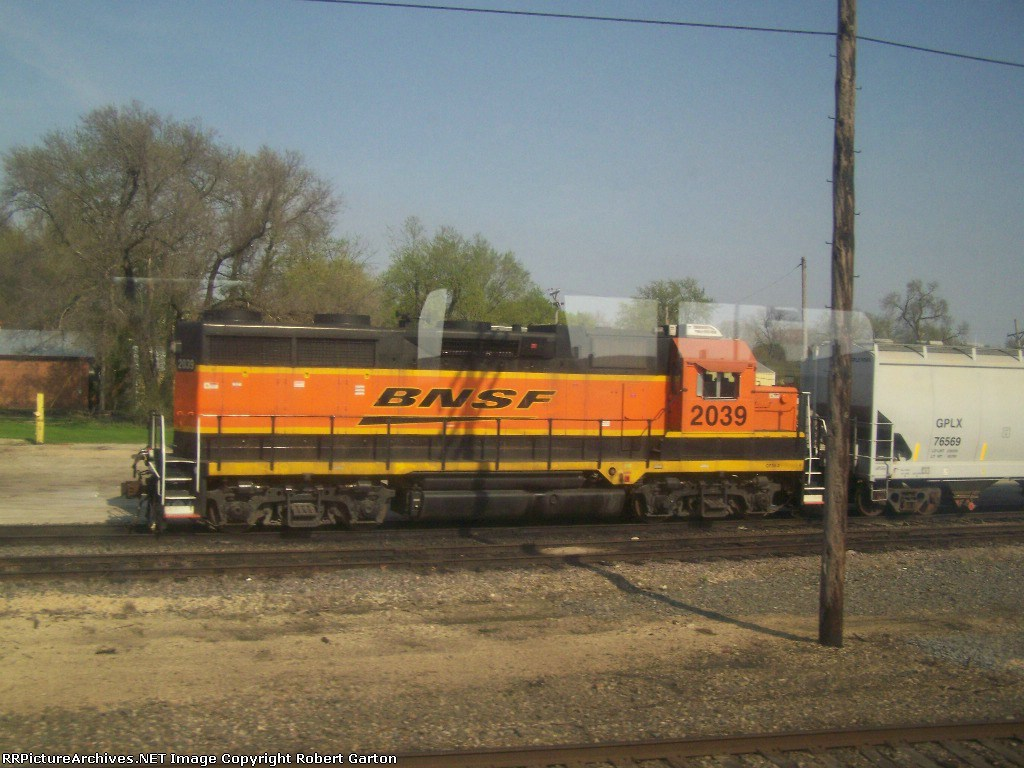 BNSF 2039 Viewed Through our Coach Window; Glare and All