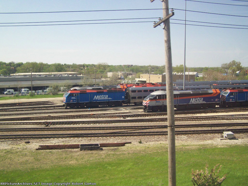 Lots of Metra Commuter Trains