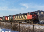 A Mix of EMD Power on a CN Manifest Train