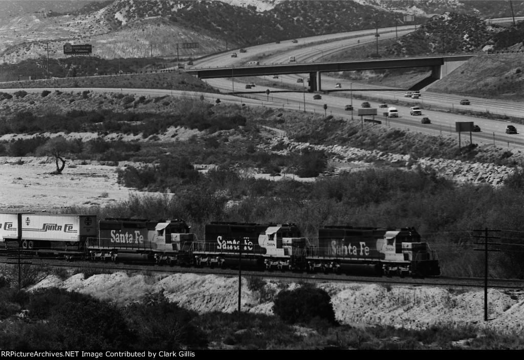 ATSF 5030 leads 2 others SD-40-2 down the south track.