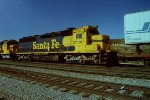 Santa Fe 5700 former bi-centennial unit now sporting freight warbonnet colors