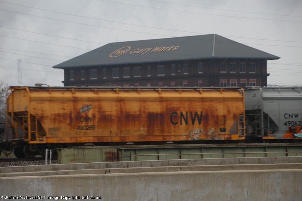 Old CNW Hopper Freight Car passing the US Steel Gary Works