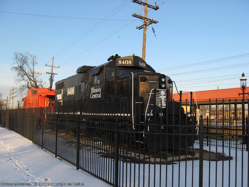 Illinois Central Railroad Engine at the Homewood Station