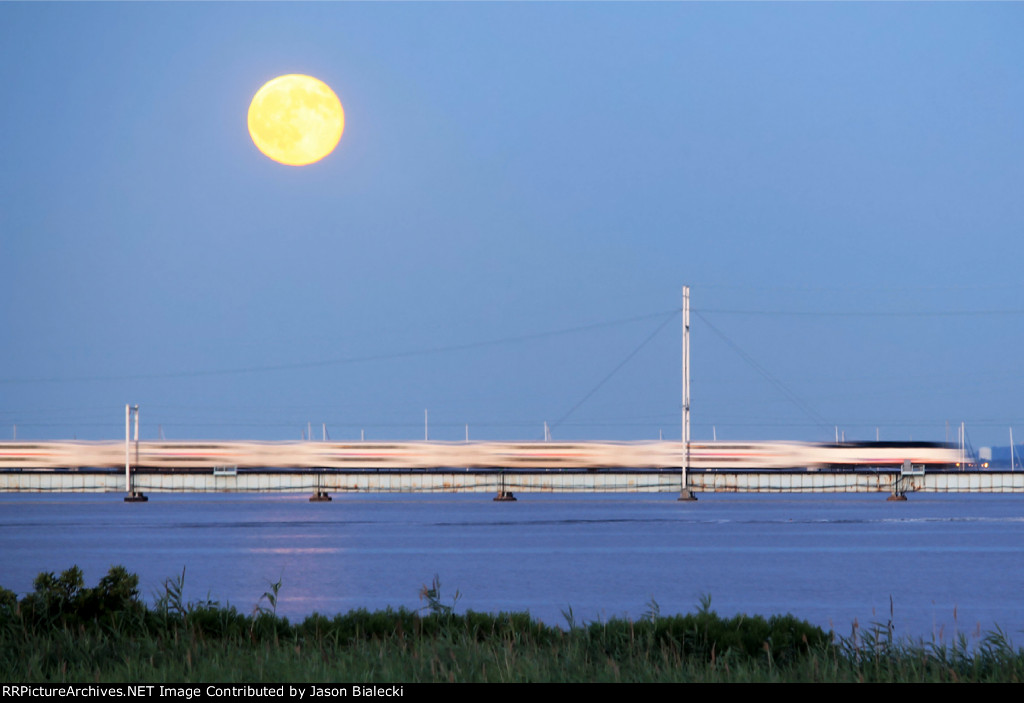 Blue Moon over the Raritan River Drawbridge