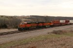 BNSF 8072 Leads a stack train up hill into Hart Mo.