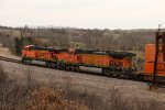 BNSF 5070 and BNSF 7639 work Dpu on a stack train.