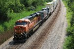BNSF 7561 Drags a stack train east down the Marceline Sub.