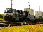 NS 9900, NS 8317 with Intermodal coming out of SK Yard