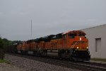 BNSF 9028 leads NB coal train at CP Bravo