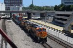 BNSF 8072 leads WB stack train