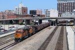 BNSF 6991 leads WB grain train