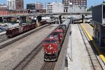 CP/CSX leads WB BNSF sand train at KCUS
