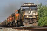 NS SD60E  and BNSF partners lead westbound 11K into the afternoon sun