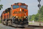 Albany NY bound grain train G053 rumbles past with an all BNSF consist