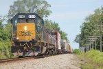SD50-2 8519 is the sole power on X637 south(west) on the C&O just south of town