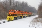 Cut away from the train, Z151 heads south with 5 covered hoppers for Michigan Rail in tow