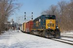Eastbound on Track 2, 4035 rolls away from the new Pleasant St signals with D707