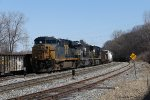 CSX 5443 leads Q335-26 up to the signal at Plaster Creek