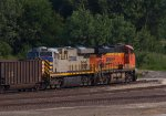 CREX1326 and BNSF6607 waiting to depart the yard in the late evening
