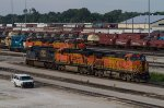 BNSF4114, BNSF6181, CSX402, BNSF5614, BNSF5668, GMTX2221 and SF2453 outside the diesel depot