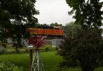 BNSF5897 framed by the trees at Peck Park