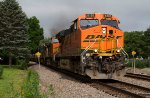 BNSF6181, BNSF5141 and 6 CSX units passing Peck Park