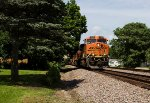 BNSF7548 plus 3 other BNSF units passing Peck Park