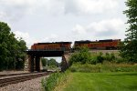 BNSF6067 and BNSF9206 pushing an empty coal train by Peck Park