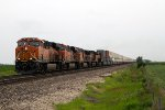 BNSF7146, BNSF7766, BNSF4096, BNSF5320 and BNSF6768 emerging from the cloud