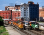 BNSF 9643,9436,6906 @ Old Union Depot Tower 2004