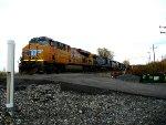 UP 7692, CSX 113, CSX 6484, CSX 2290, and CSX 6207 tied down by the firehall