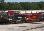 """NS9870 and NS8104 """"Lehigh Valley"""" in the yard"""