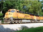 NS 735 with BNSF GEVO's creepes to a halt at MP 536
