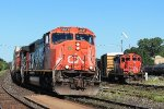 Eastbound all intermodal 148 passes the yard swicher