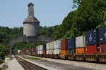 NS7501 and CSX7519 passing under the old coaling tower
