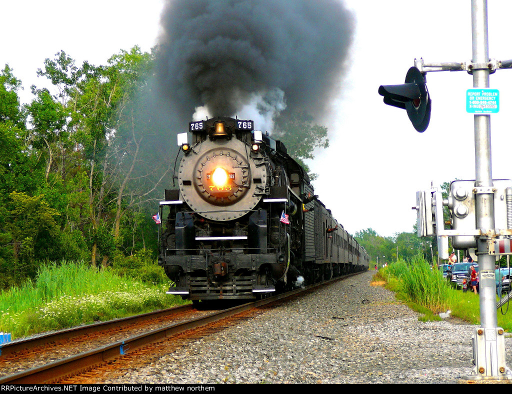 NKP 765 going by Erie St and and Schwartz Rd Crossing