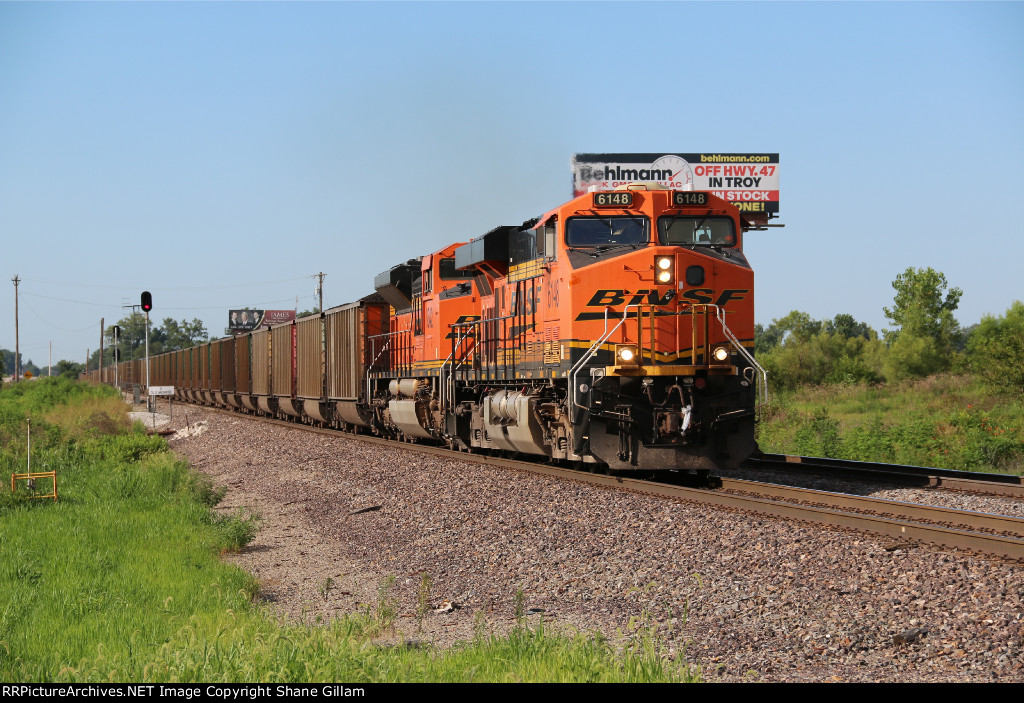 BNSF 6148 Rolls West with a loaded coal drag.