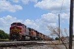 Idling BNSF grain train