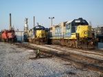 CSX local geeps resting with the CP SD40-2's used on the Sarnia-Chatham trains,