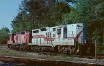 Mid-Atlantic RY engines waiting to take the empty train from the Waccamaw Coast Line to Mullins.