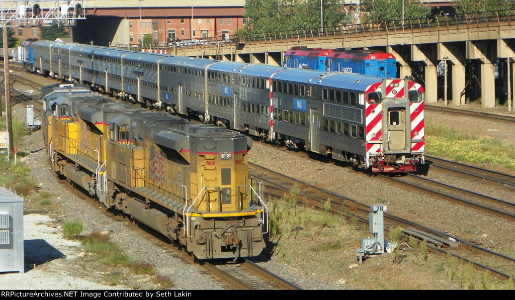 UP 8610 and BNSF train 1244