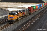 UP 8837 ushers a stack train around the vast Kennicott Copper tailings area