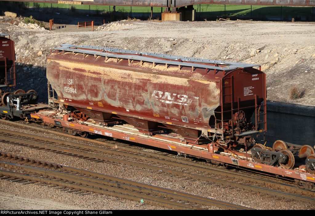 BNSF 495944 Wrecked hopper.