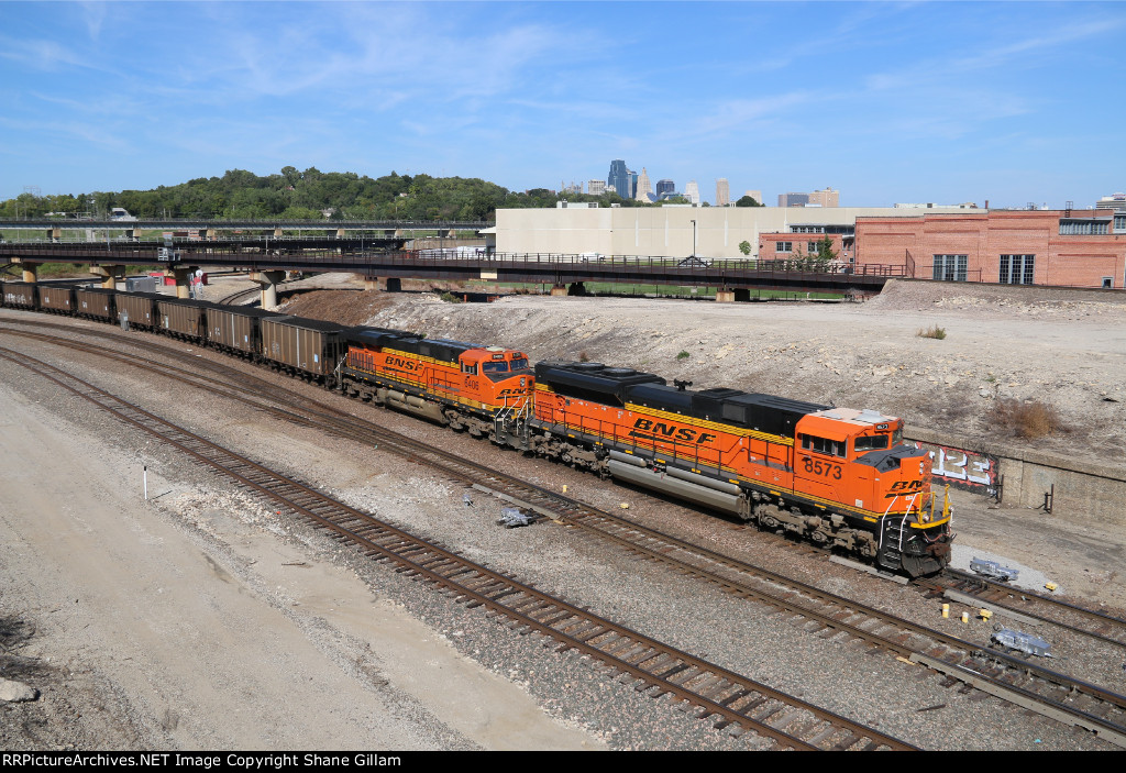 BNSF 8573 Drags a coal load down the Fort Scott Sub.
