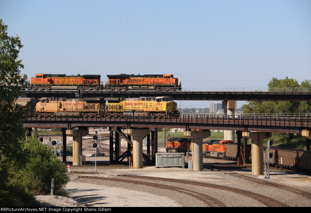 Trains on all 3 levels in Kansas City Mo.
