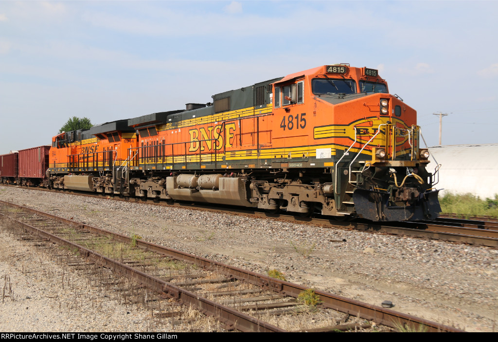 BNSF 4815 Leads a loaded rock train into Old monroe Mo.