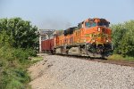 BNSF 4018 Leads a rock train over the River in Old Monroe Mo.