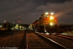 BNSF 4821 shines in the dark of night..