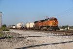 BNSF 5196 Hammers a Rack train down main 1.