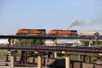BNSF 8124 Leads a Westbound freight over the Kct Flyover.